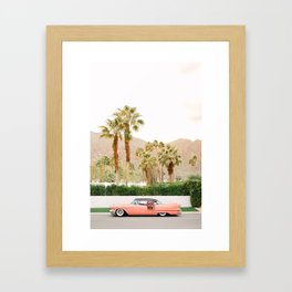 Classic Pink Car in Palm Springs Framed Art Print