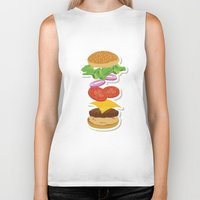 burger Biker Tanks featuring Burger by Daily Design
