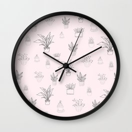 Cute Pink House Plant Pattern Wall Clock