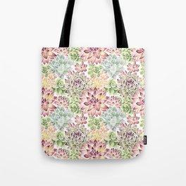 Bright Watercolor Succulents Tote Bag