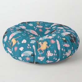 Monkeys in Rain Boots | Coral and Teal Floor Pillow