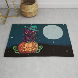Ferociously Cute Halloween Vampire Witch Kitty Cat Rug