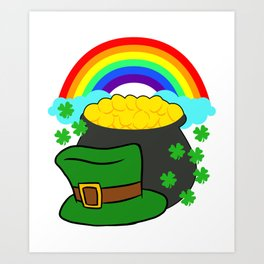 Pot Of Gold Hat And Rainbow Clover St Patricks Day Art Print