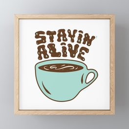 Stayin' Alive in Turquoise Framed Mini Art Print