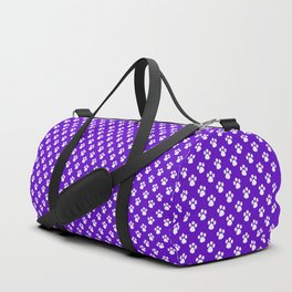 Tiny Paw Prints Pattern Deep Purple and White Duffle Bag
