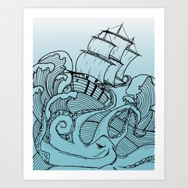 Octopus and the Dark Blue Sea Art Print