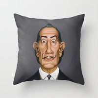 celebrity Throw Pillows featuring Celebrity Sunday ~ Salvador Dali by rob art | illustration