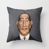 salvador dali Throw Pillows featuring Celebrity Sunday ~ Salvador Dali by rob art | illustration