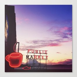 Coffee at the market Canvas Print
