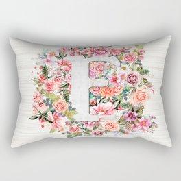 Initial Letter E Watercolor Flower Rectangular Pillow
