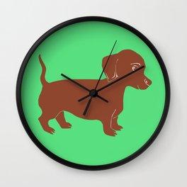 Brown Dachshund Printmaking Art Wall Clock