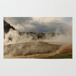 A Cloud Of Steam And Water Over A Geyser Rug