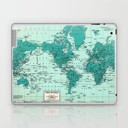 World Map in Teal Laptop & iPad Skin