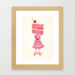 Cake Head Pin-Up - Cherry Framed Art Print