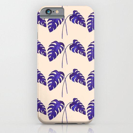 Indigo Monstera Leaf Watercolor on Blush iPhone & iPod Case