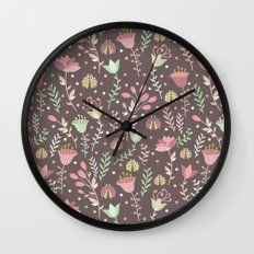 Ladybugs and flowers Wall Clock