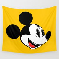 mickey Wall Tapestries featuring Creepy Mickey  by Daniel Hannih