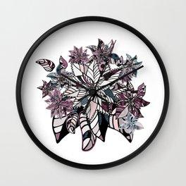 poinsettia winter pattern combination Wall Clock