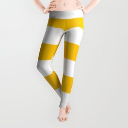 Aspen Gold Yellow and White Wide Horizontal Cabana Tent Stripe Leggings