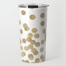 Gold Glitter Dots in scattered pattern Travel Mug