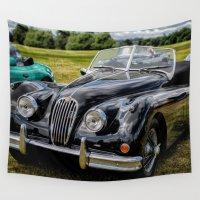 jaguar Wall Tapestries featuring Jaguar XK140 by Adrian Evans