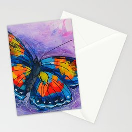 Butterfly_ Blue and violet background, 24 X 24 acrylic original artwork Stationery Cards