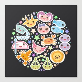 Funny Kawaii zodiac sign,  virgo, aries, gemini, cancer, aquarius, taurus, leo, libra sagittarius Canvas Print
