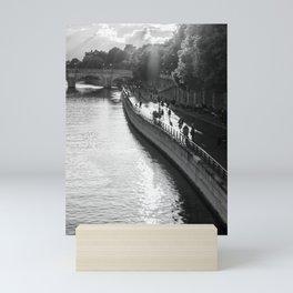 River Seine Paris sunset   Sun setting over the Seine in Paris   France Black & White Photography  Mini Art Print