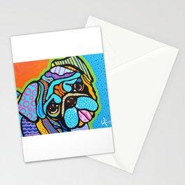 Pooped Pug Dog Puppy Designer Series Bright Colorful Fun Art Design Bulldog Breeds Stationery Cards