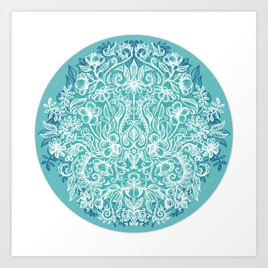 Spring Arrangement - teal & white floral doodle Art Print