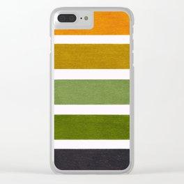 Olive Green & Hazel Brown Geometric Pattern Clear iPhone Case