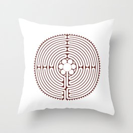 Cathedral of Our Lady of Chartres Labyrinth - Red Throw Pillow