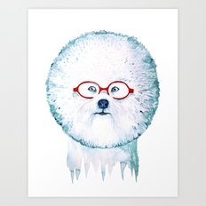 Dog-dandelion Art Print