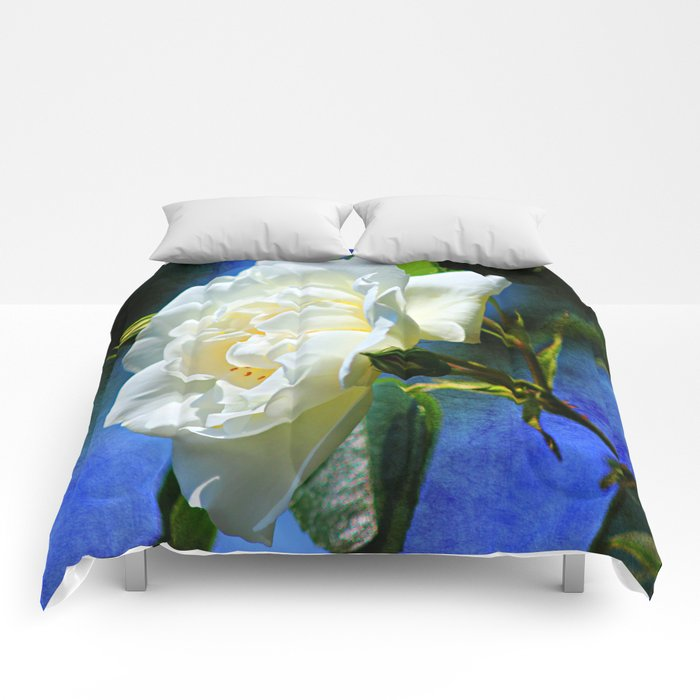 Creamy White Rose and Buds Comforters