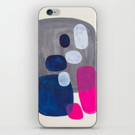 MidCentury Modern Abstract Minimalist Fun Colorful Shapes Navy Blue Magenta Grey Bubbles Retro Style iPhone Skin