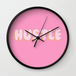 'Hustle' Bubble gum Letters Wall Clock