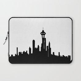 Seattle City Skyline in Black and white Laptop Sleeve