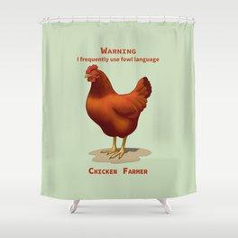Funny Rhode Island Red Hen Fowl Language Chicken Farmer Shower Curtain