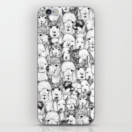 just alpacas black white iPhone Skin