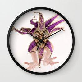 1387s-MM Jester Mask on a Implied Nude Fine Art Model Wall Clock