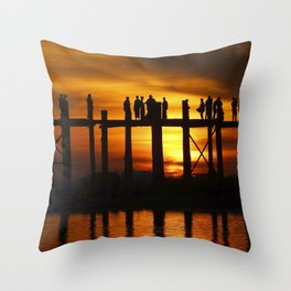 Sunset at U Bein Bridge, Myanmar Throw Pillow