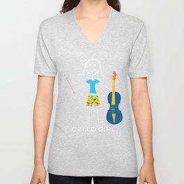Funny Womens Cello Design, Girl Music Gifts, Cello Girl Unisex V-Neck