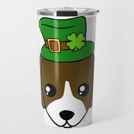 Irish Dog - St. Patrick's Day Shamrock Hat Travel Mug