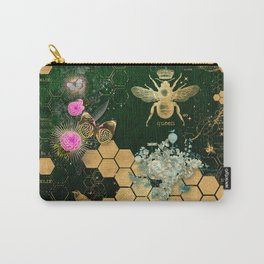 French chic, victorian,bee,floral,gold foil, belle epoque,art nouveau, green foil, elegant chic coll Carry-All Pouch