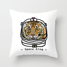 Space King Tiger Portrait Throw Pillow