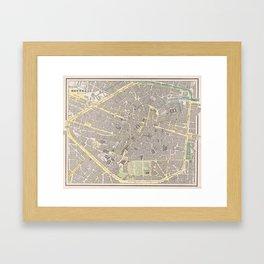 Vintage Map of Brussels Belgium (1901) Framed Art Print