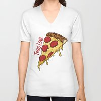 pizza V-neck T-shirts featuring Pizza by jeff'walker