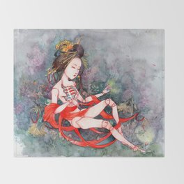 Oriental Beauty: Goddess of Nature Throw Blanket