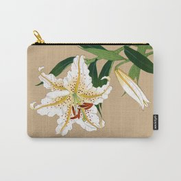 Vintage Japanese Lilly. White, Green and Beige Carry-All Pouch