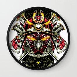 Metal samurai, iron mask Wall Clock